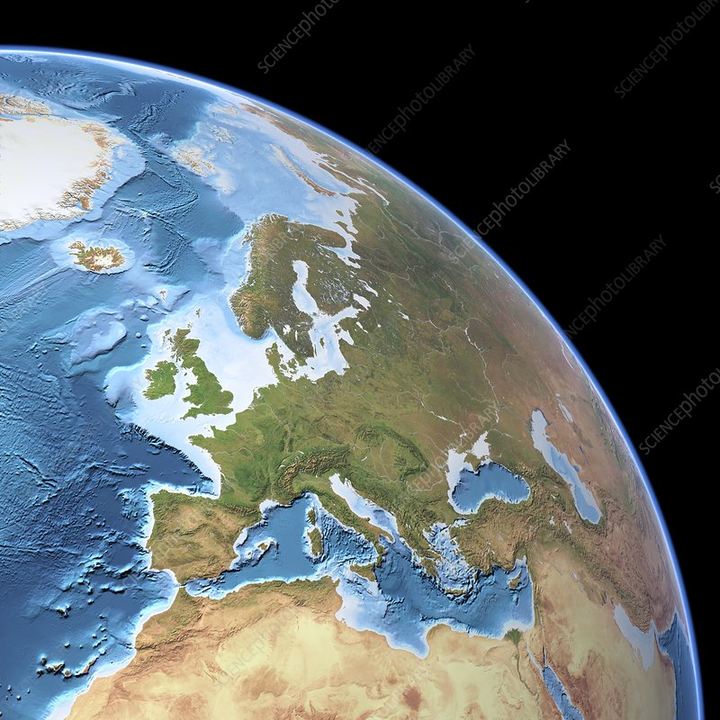 Europe, topographic map