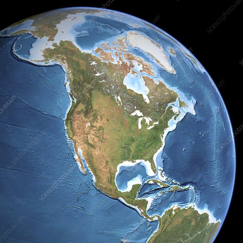 North America Topographic Map Stock Image C001 9113 Science