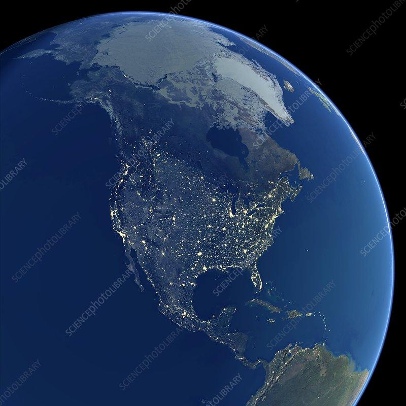 North America At Night Satellite Image Stock Image C - North america satellite image