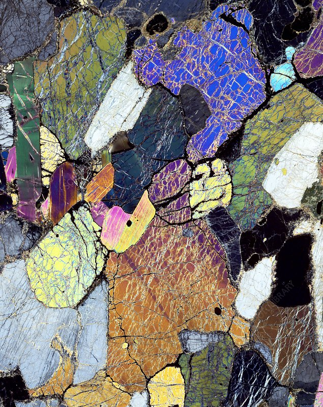 Kimberlite rock, light micrograph