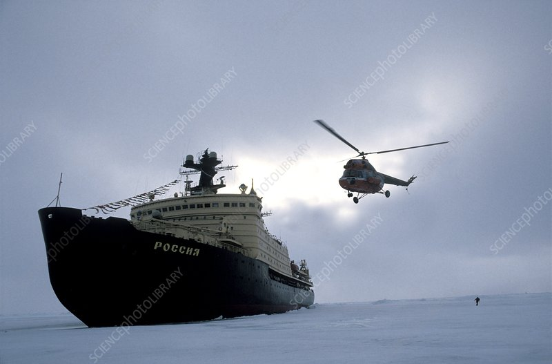 Arctic icebreaker and helicopter