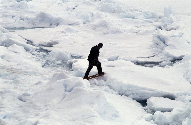Walking across Arctic ice
