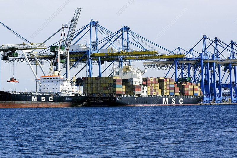 Containers ship and cranes