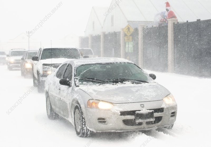 Cars in a blizzard