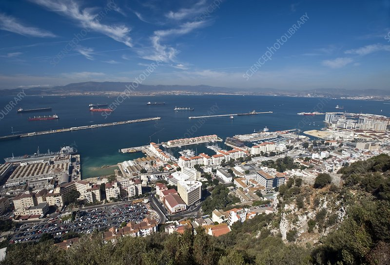 Elevated view of Bay of Gibraltar
