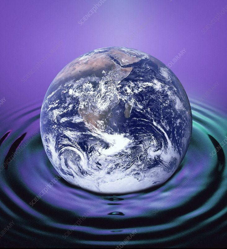 The earth making ripples in a pool