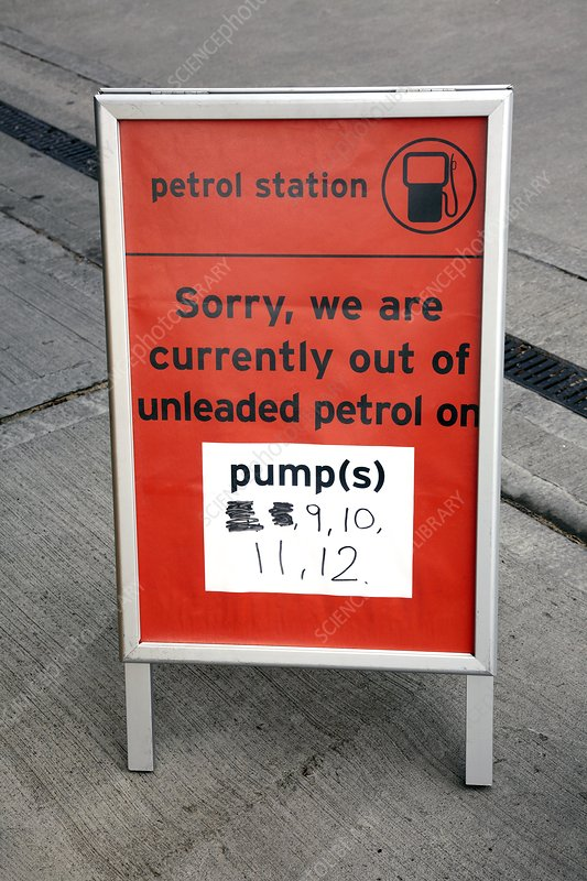 Out of petrol signs