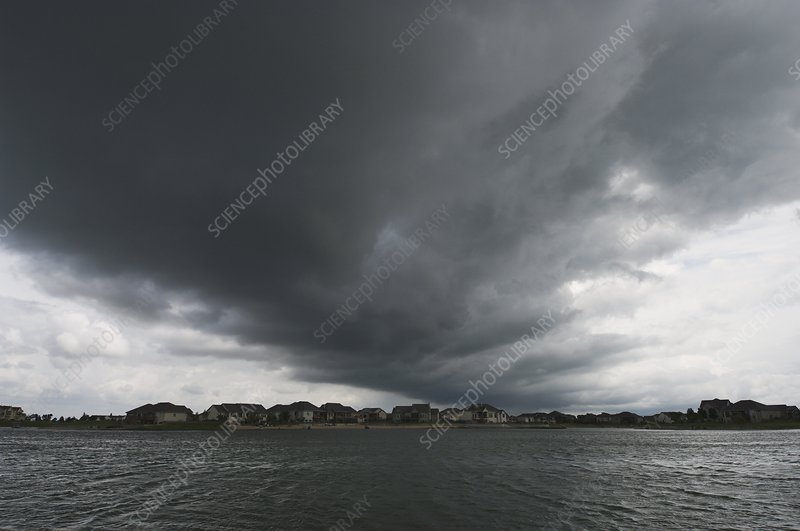 Stormy sky over lake