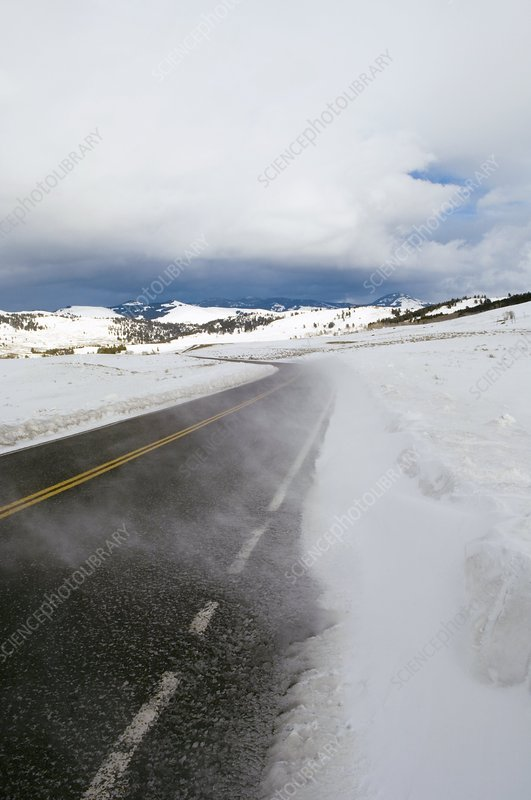 Winter storm on a road