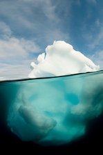 Antarctic iceberg, split view
