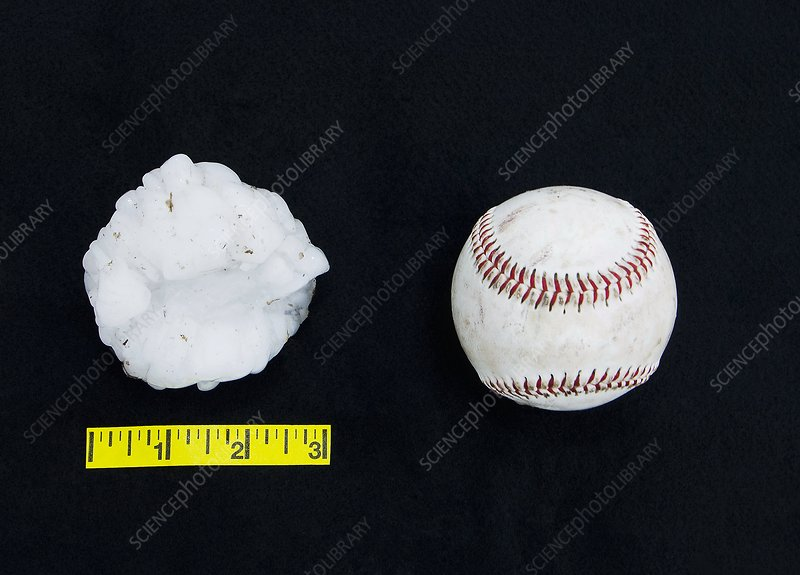 Baseball-sized hailstone