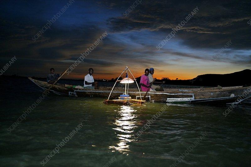 Night fishing, Lake Victoria, Kenya - Stock Image - C002