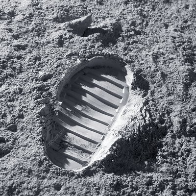 Apollo bootprint on the Moon