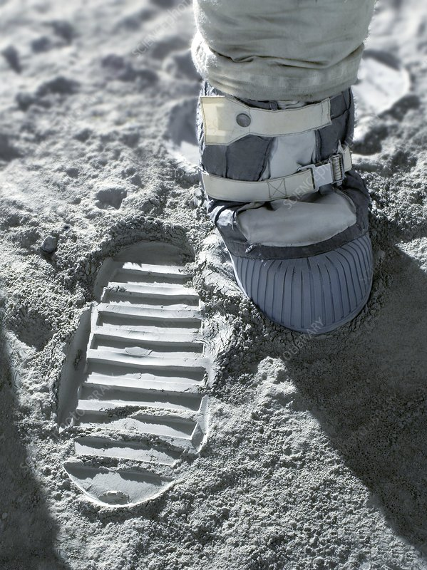 Apollo astronaut's bootprint on the Moon