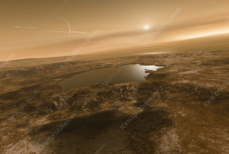 Liquid hydrocarbons on Titan, artwork