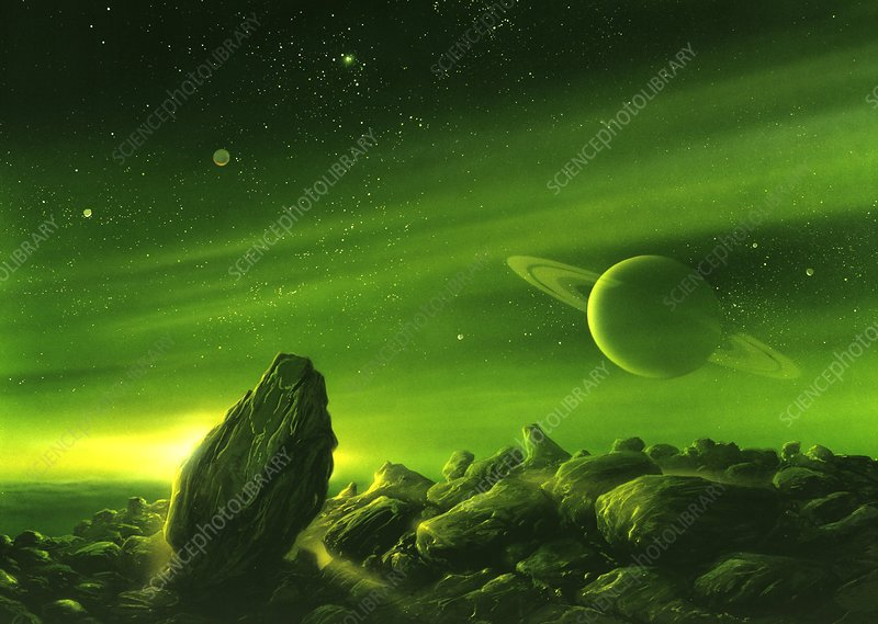 Alien ringed planet, artwork