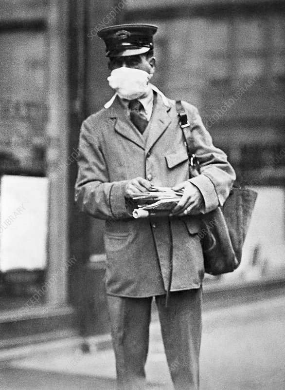 Letter carrier wearing a mask, USA, 1918