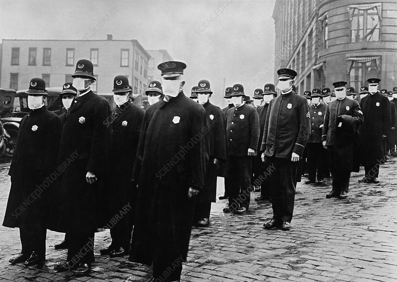 Policemen wearing face masks, USA, 1918