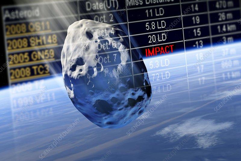 Predicting asteroid impact, artwork - Stock Image C002 ...