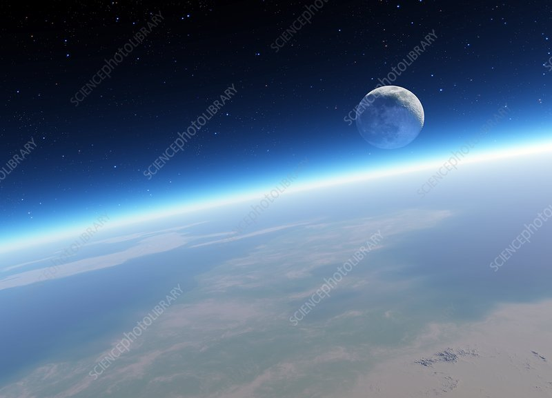 Crescent Moon from Earth orbit, artwork