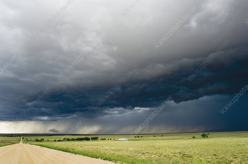 Stormy sky over a rural road