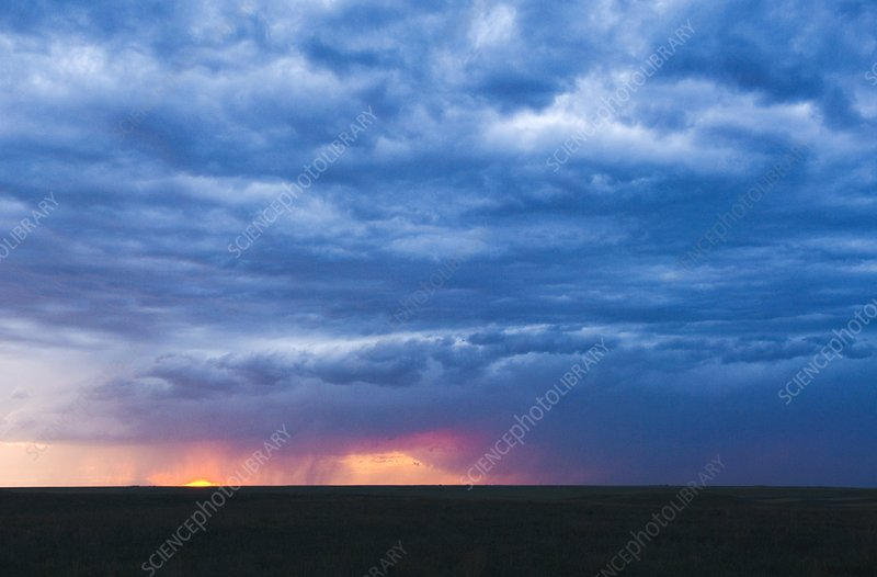 Stormy sky over fields