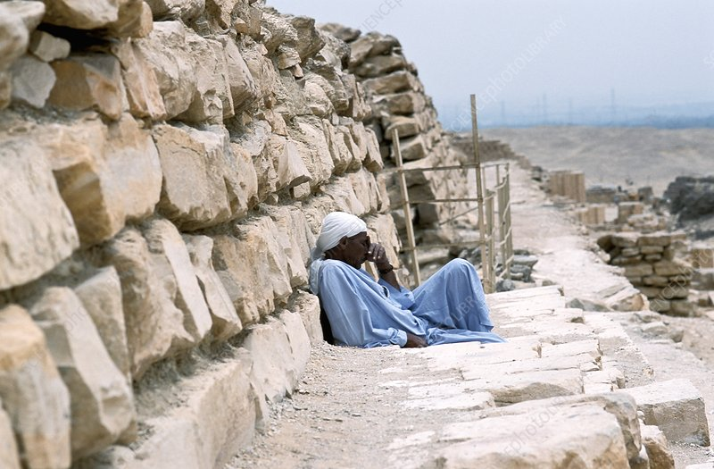 Worker resting at a pyramid site, Egypt