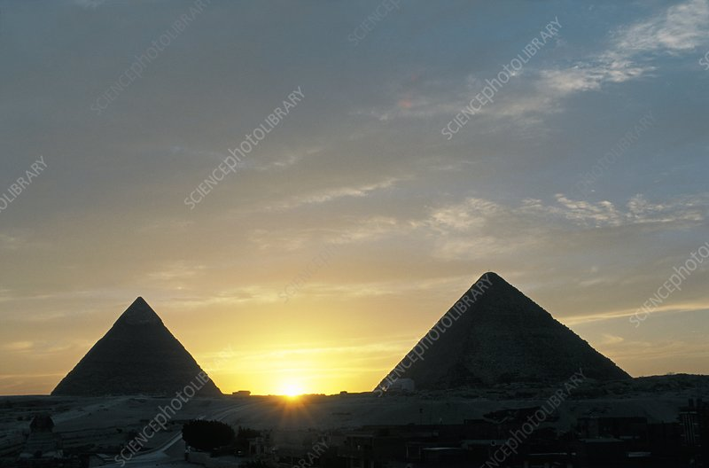 Pyramids of Giza at sunset, Egypt