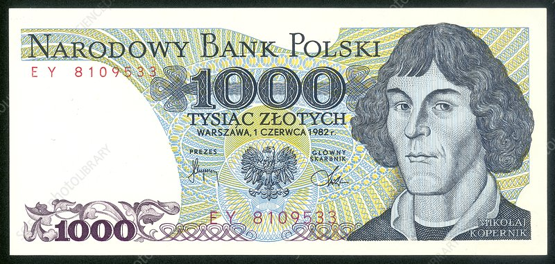 Nicolaus Copernicus on a Polish banknote