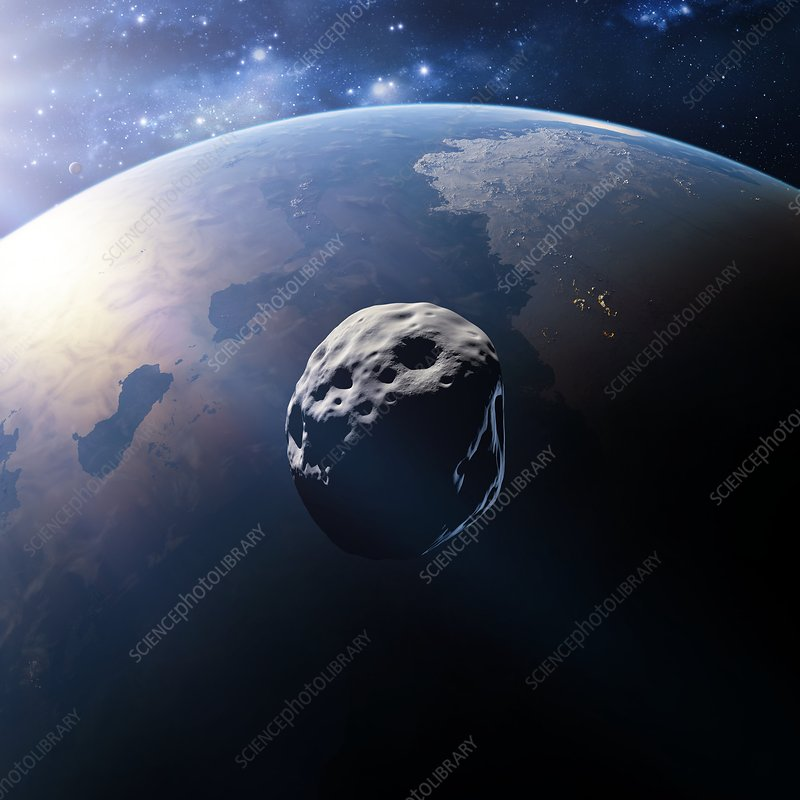 Alien planet and asteroid