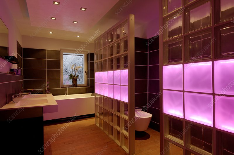 Coloured LED bathroom lights