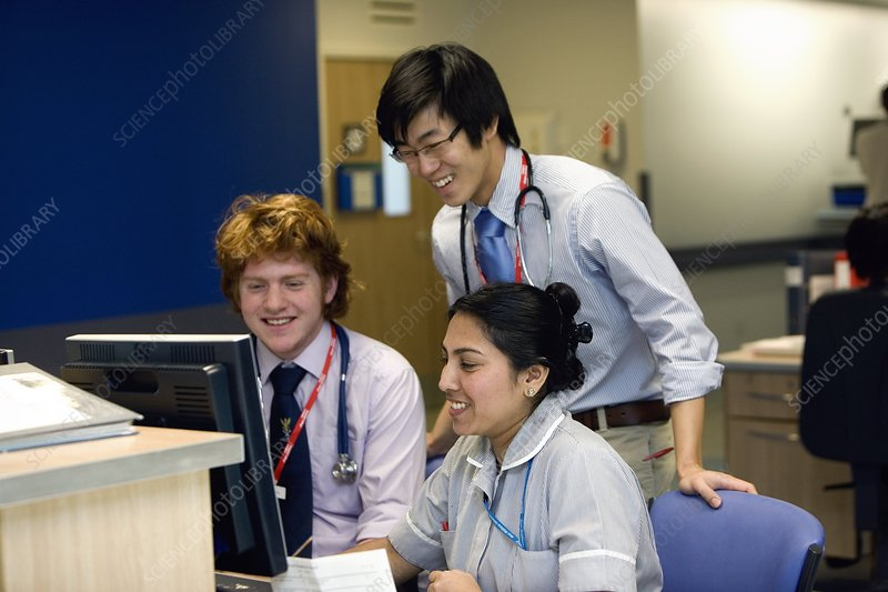 Medical students and nurse
