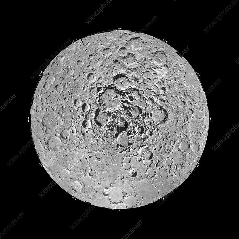 Moon's north pole, Clementine image