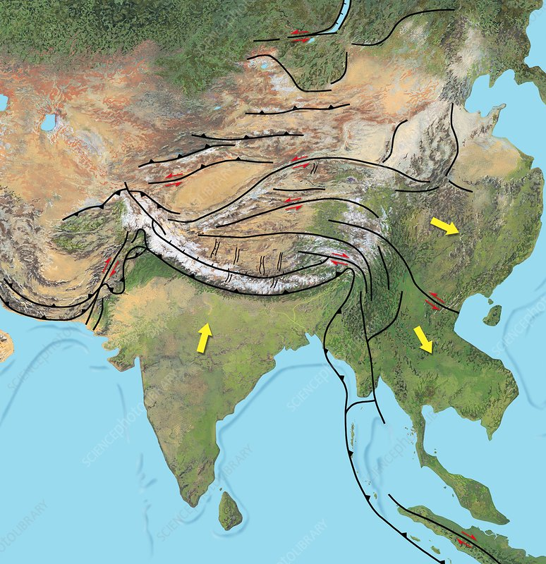 Tectonic map of Asia