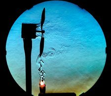 Fan and candle, schlieren image