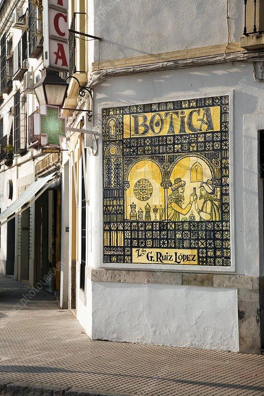 Islamic pharmacy ceramic tiles, Spain - Stock Image C002/5013 ...