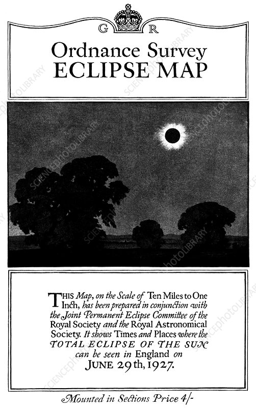 Solar eclipse map, 1927