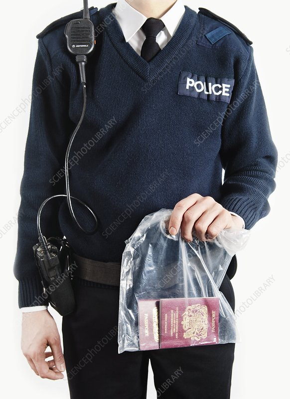 Policeman with evidence
