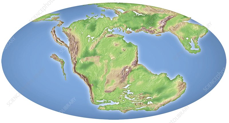 Continental drift, 200 million years ago