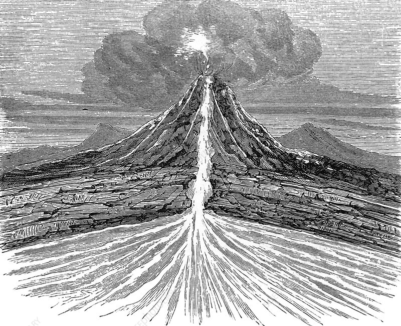 Volcano section, 19th century artwork