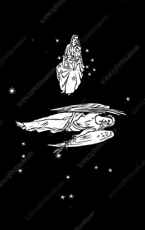 Virgo and Coma constellations, artwork - Stock Image C002 ...
