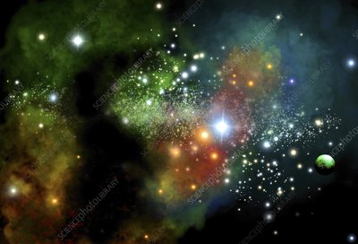 Young star cluster, artwork
