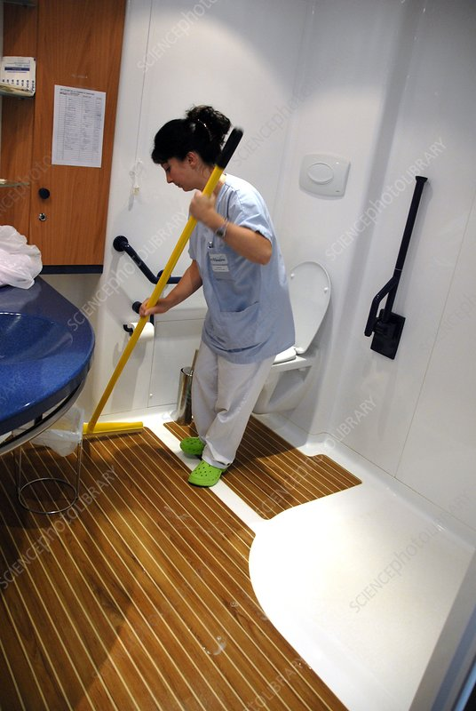 Cleaning the bathroom in a care home