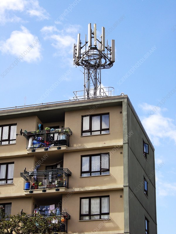 Mobile phone mast on a block of flats
