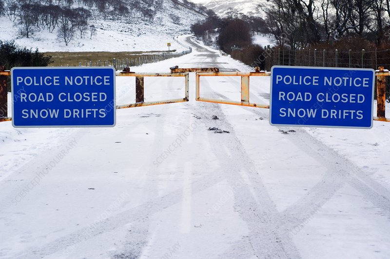 Road closed due to snow drifts