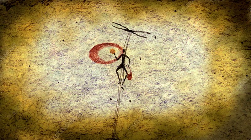 Early honey gathering, cave painting