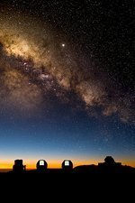 Milky way and observatories, Hawaii