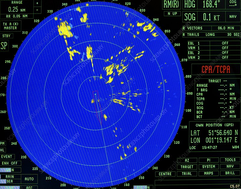 Container ship radar screen