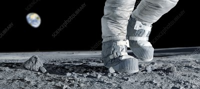 Astronaut walking on the Moon - Stock Image C002/6985 ...