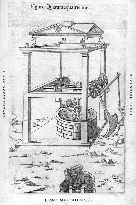 Well pulley system, 16th century artwork